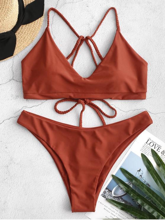 fashion ZAFUL Braided Strappy Bikini Swimsuit - CHESTNUT RED S