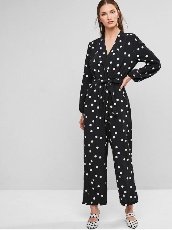fancy Polka Dot Belted Surplice Wide Leg Jumpsuit - BLACK S