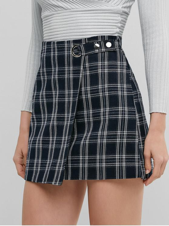 online Plaid Zip Fly Snap Button A Line Skirt - MULTI-A XL