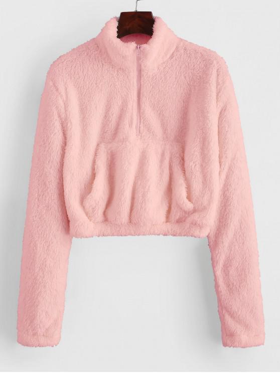 ladies Half Zip Front Pocket Fluffy Teddy Sweatshirt - LIGHT PINK S