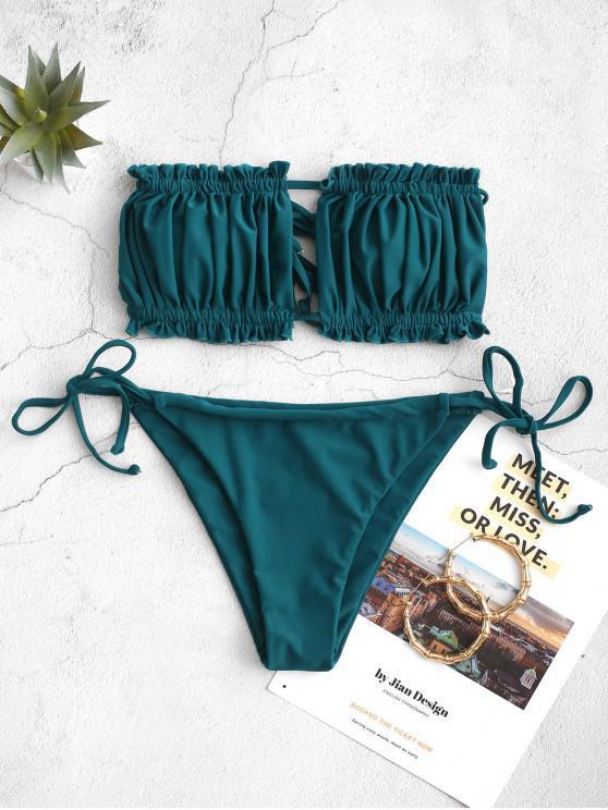 outfit ZAFUL Ruffle Tie Side Low Waisted Bandeau Bikini Swimsuit - PEACOCK BLUE M