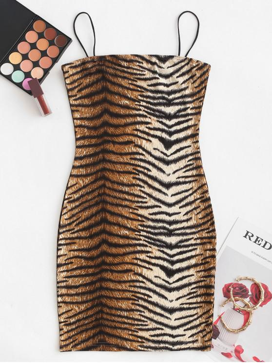 women Cami Tiger Mini Bodycon Dress - MULTI-A L