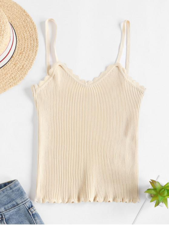 buy Scalloped Ribbed Knit Slim Cami Top - LIGHT KHAKI ONE SIZE