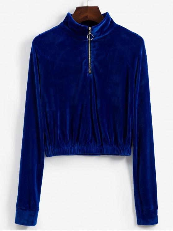 unique Raglan Sleeve Half Zip Velvet Sweatshirt - COBALT BLUE M