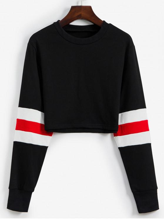 womens Pullover Stripes Panel Cropped Sweatshirt - BLACK L
