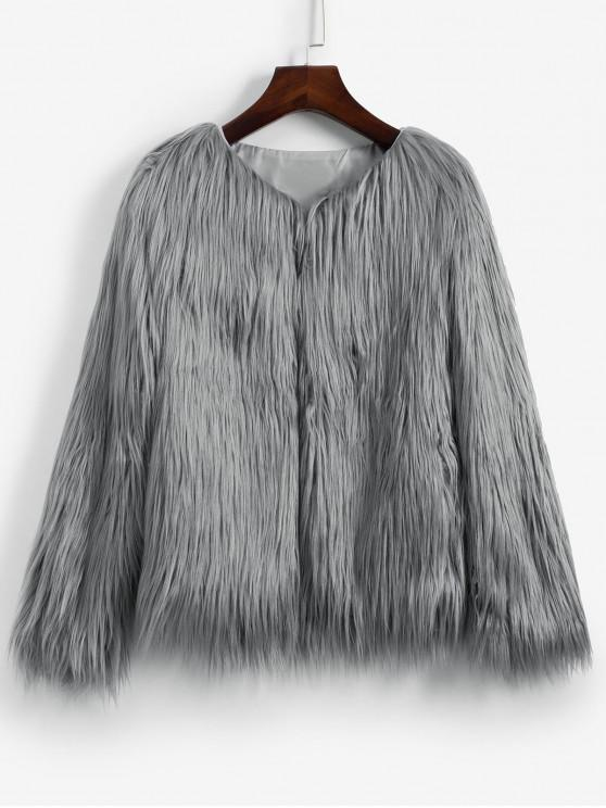 shop Faux Fur Shaggy Style Plush Fluffy Coat - GRAY S