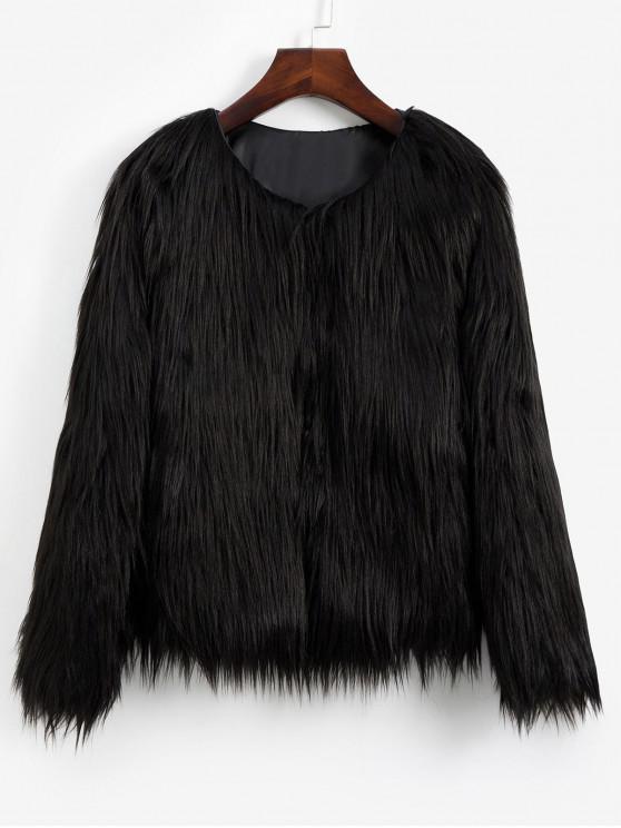 fashion Faux Fur Shaggy Style Plush Fluffy Coat - BLACK S