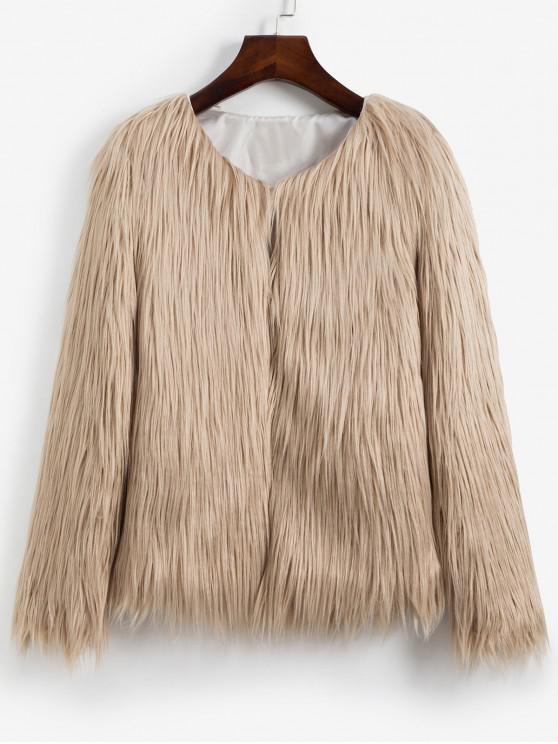 sale Faux Fur Shaggy Style Plush Fluffy Coat - LIGHT KHAKI S