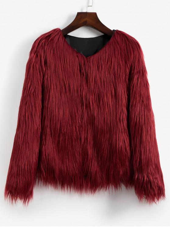 womens Faux Fur Shaggy Style Plush Fluffy Coat - RED WINE S