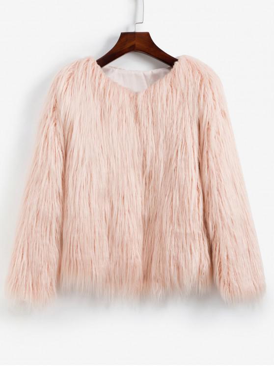 best Faux Fur Shaggy Style Plush Fluffy Coat - PINK S