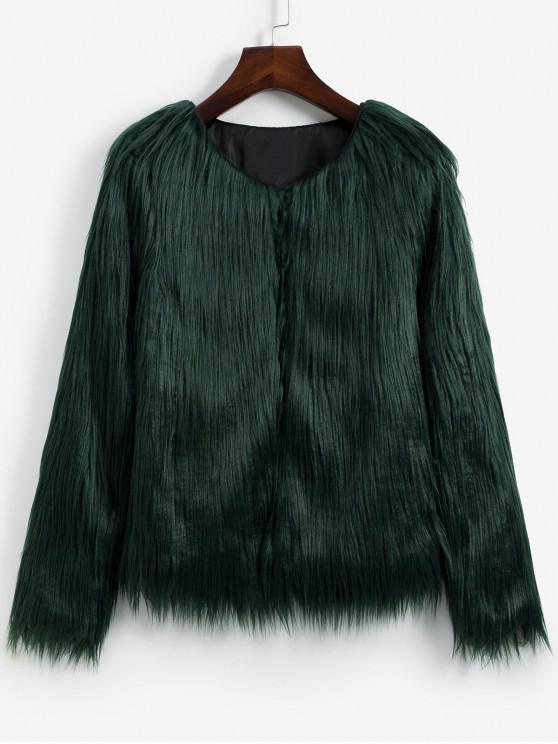 outfit Faux Fur Shaggy Style Plush Fluffy Coat - ARMY GREEN S