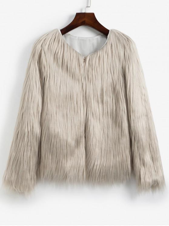fancy Faux Fur Shaggy Style Plush Fluffy Coat - COOL WHITE S