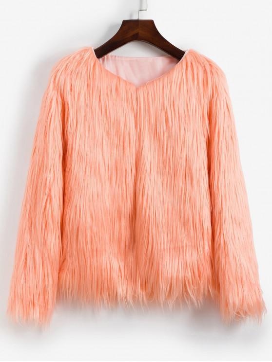 sale Faux Fur Shaggy Style Plush Fluffy Coat - DEEP PEACH XS
