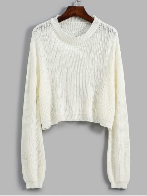 unique Crew Neck Solid Crop Sweater - WHITE ONE SIZE