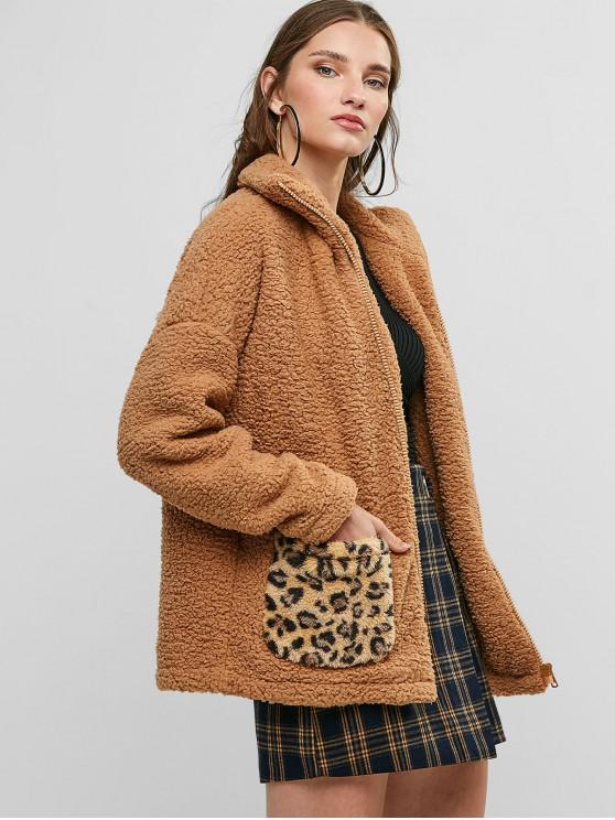 chic Zip Up Leopard Dual Pocket Teddy Jacket - CAMEL BROWN L