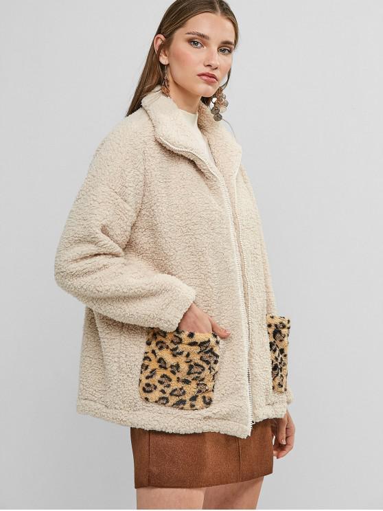 buy Zip Up Leopard Dual Pocket Teddy Jacket - APRICOT XL