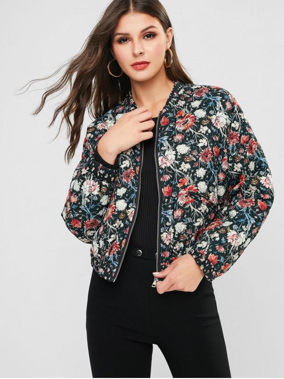 shops Flower Quilted Drop Shoulder Jacket - DARK FOREST GREEN L