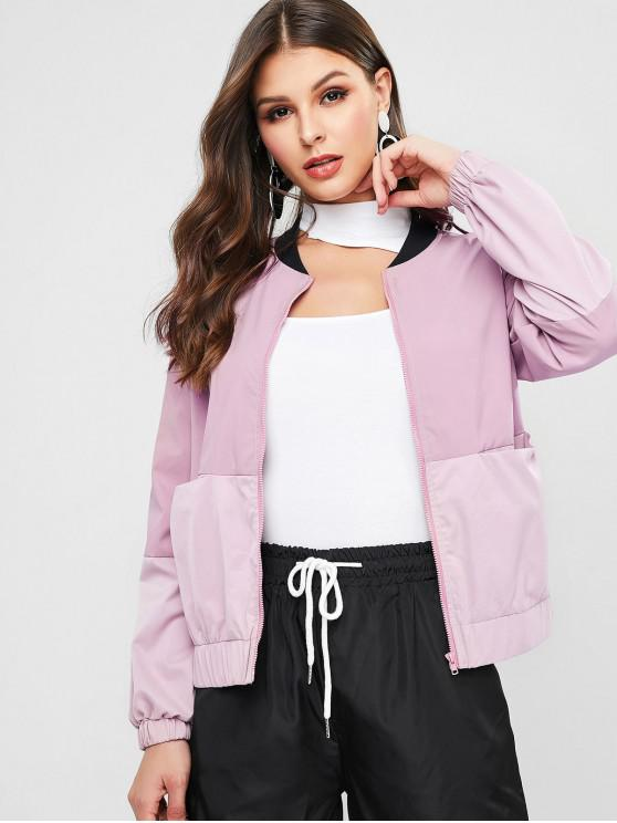 affordable ZAFUL Front Pocket Colorblock Jacket - LILAC XL