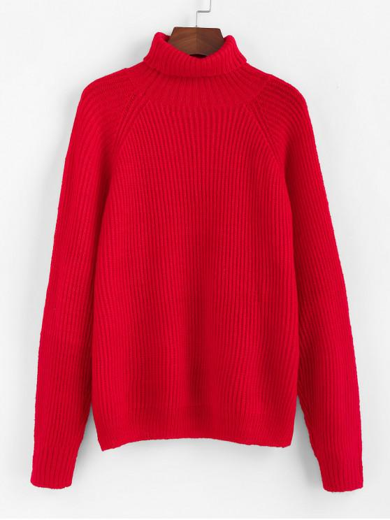 womens ZAFUL Christmas Turtleneck Raglan Sleeve Knit Sweater - LAVA RED S