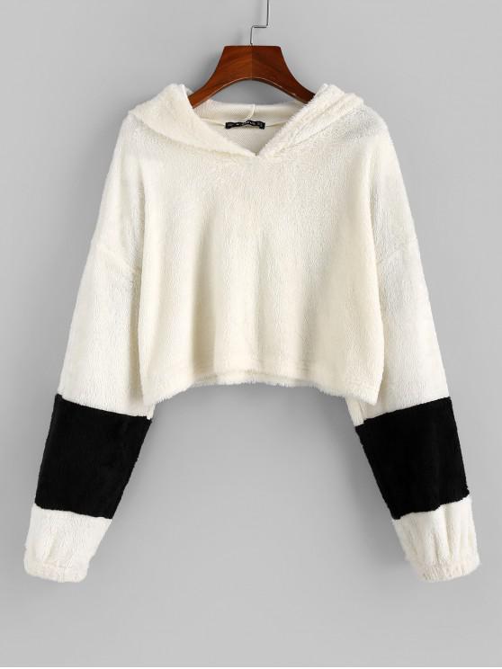 fashion ZAFUL Two Tone Fluffy Crop Hoodie - WHITE M