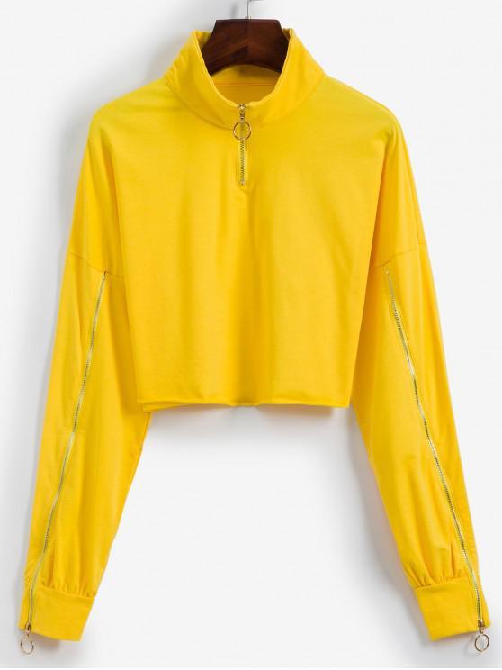women Half Zip Raw Hem Cropped Sweatshirt - YELLOW L