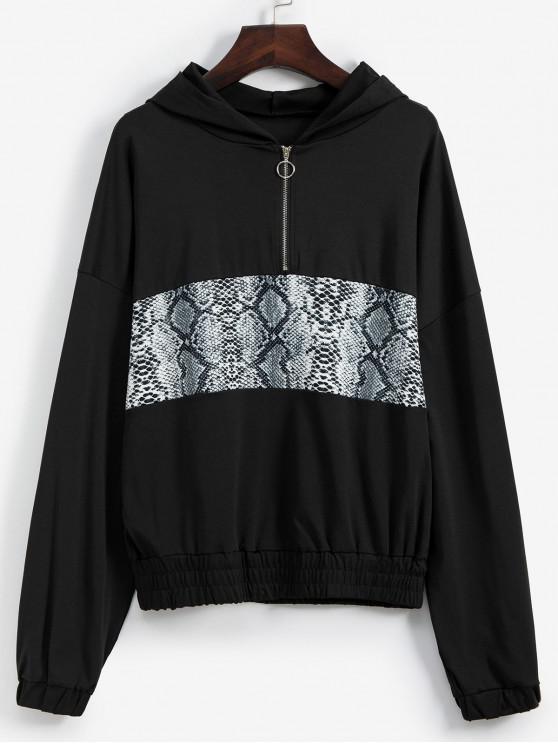 best Drop Shoulder Snakeskin Print Half Zip Hoodie - BLACK L