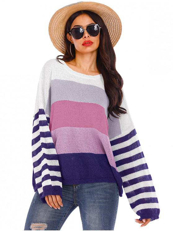 online Drop Shoulder Colorblock Striped Crew Neck Sweater - MULTI-B S