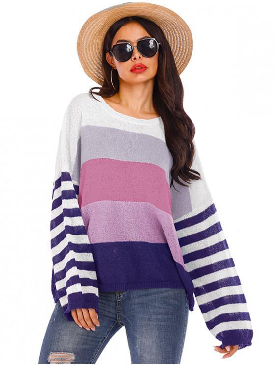 Picătură Umăr colorblock Striped Crew Neck Sweater - Multi-B S