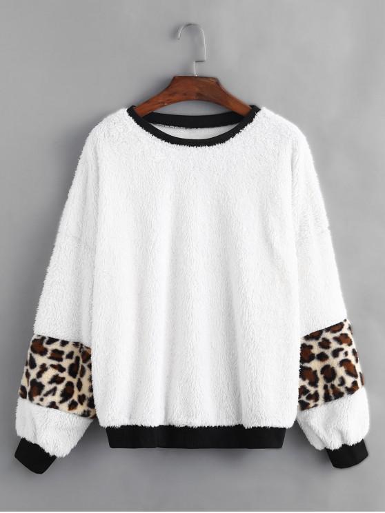 Leopard Painel Gota ombro Fluffy camisola - Branco M