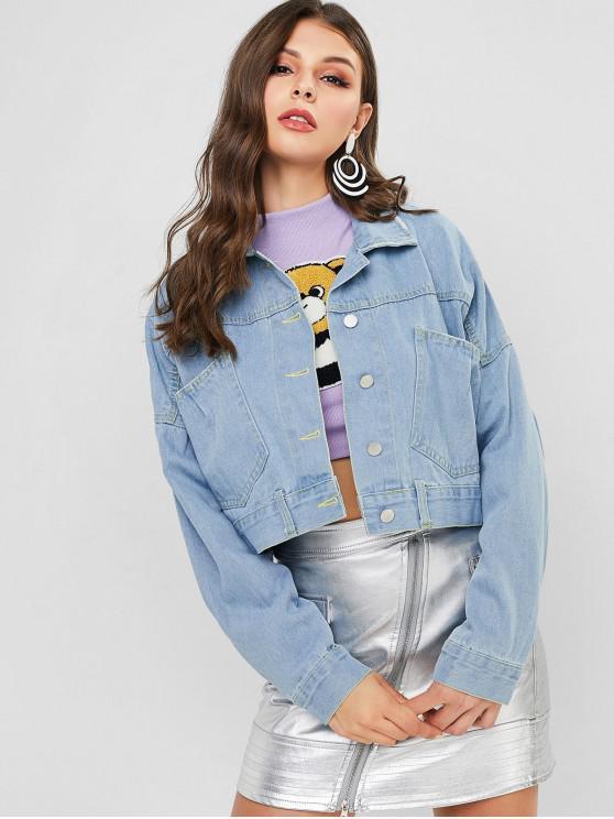 online Button Front Lace Up Back Denim Jacket - DENIM BLUE M