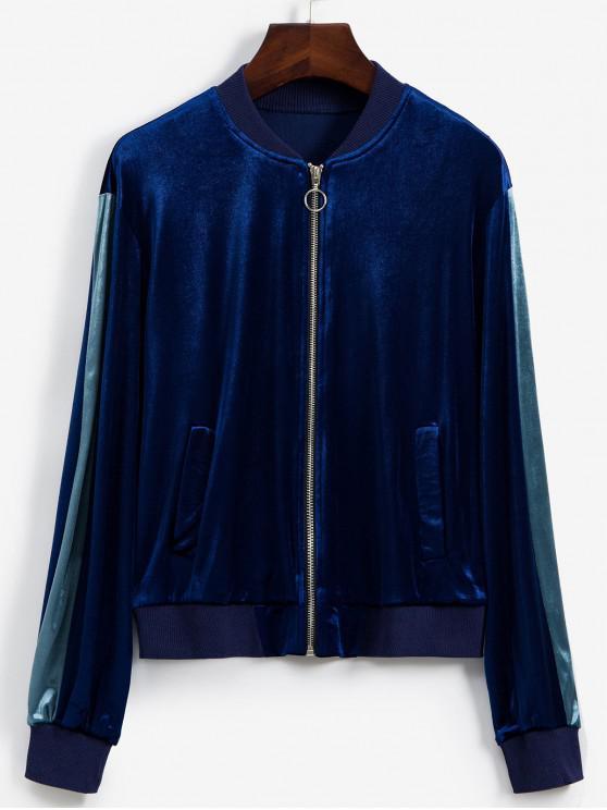 outfits Contrast Sleeve Zip Front Velvet Bomber Jacket - NAVY BLUE M