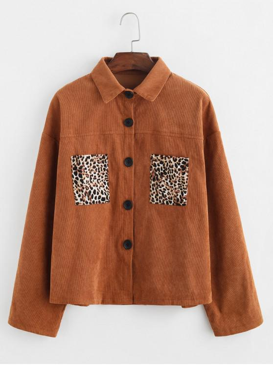 outfits Leopard Pockets Buttoned Corduroy Shirt - BROWN M