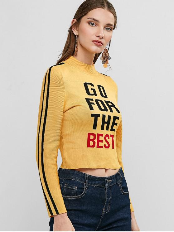 走為上策圖形模擬領毛衣錄播 - 金黃色 One Size