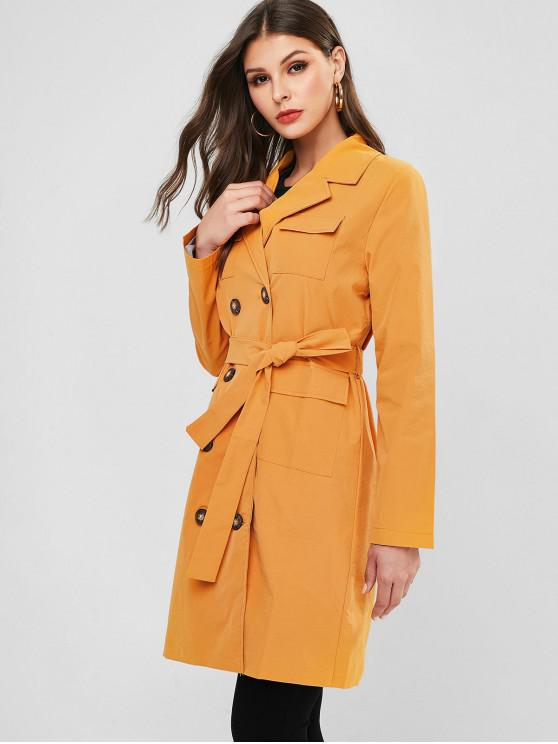 chic Belted Double Breasted Flap Pockets Trench Coat - BEE YELLOW L
