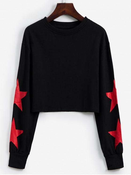 Sweat-shirt Court Étoile Graphique à Goutte Epaule - Noir L