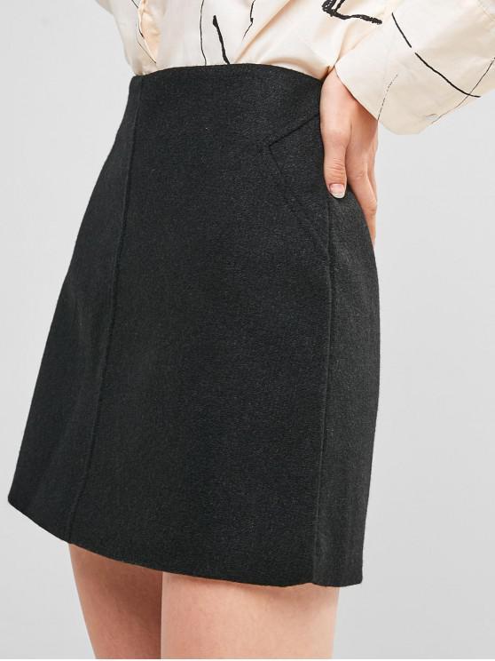 hot High Waisted Zip Fly Short Skirt - BLACK L
