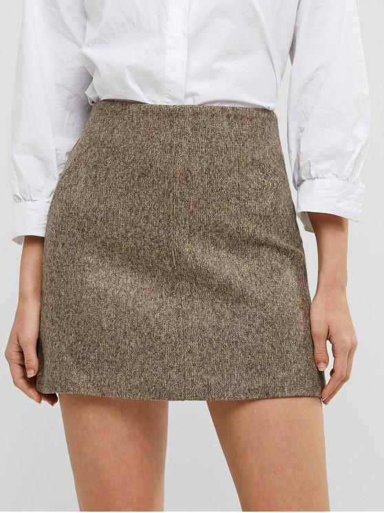 latest High Waisted Zip Fly Short Skirt - LIGHT KHAKI M