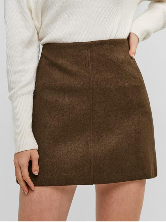 outfits High Waisted Zip Fly Short Skirt - COFFEE M