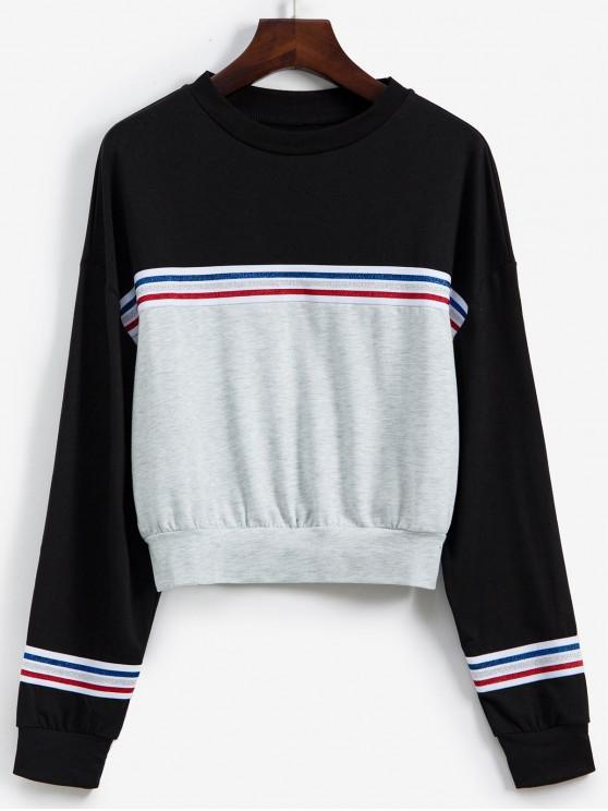 Sweat-shirt Métallisée Rayé en Blocs de Couleurs à Goutte Epaule - Multi-A S