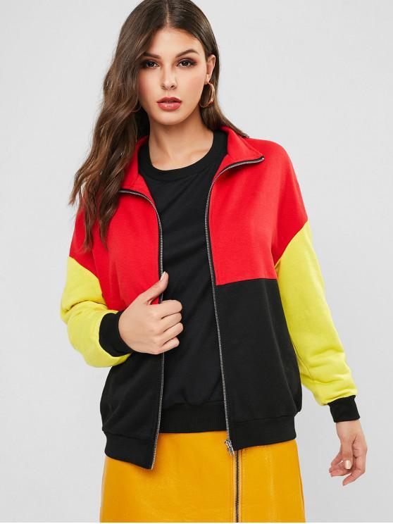 sale ZAFUL Zip Up Colorblock Loose Jacket - BLACK M