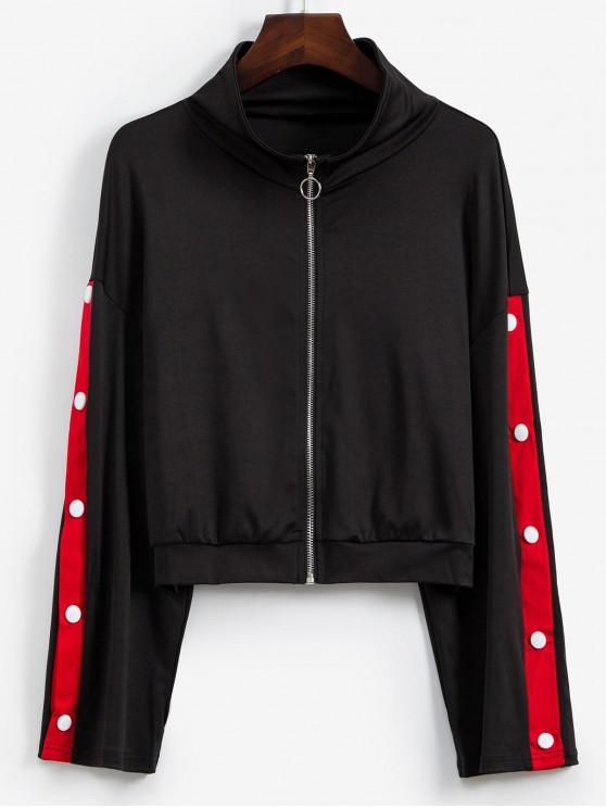 Контрастные цветы Пуговицы Молния впереди Куртка - Чёрный L