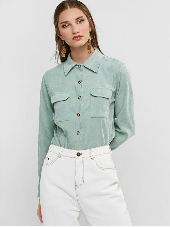outfits Buttoned Corduroy High Low Shirt with Pockets - LIGHT GREEN L