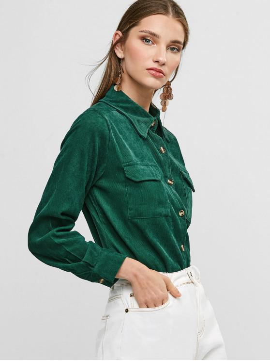 womens Buttoned Corduroy High Low Shirt with Pockets - GREEN S