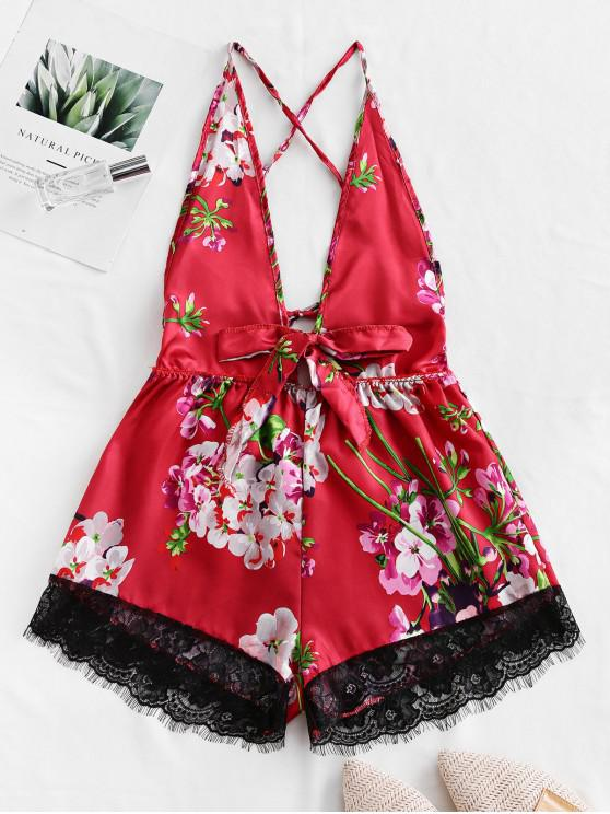 affordable Floral Print Lace Panel Backless Lingerie Romper - RED M