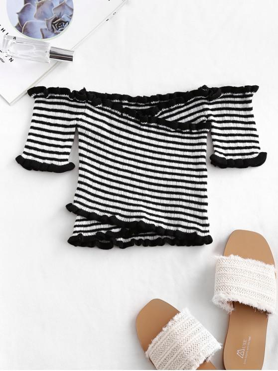 ladies Cross Front Striped Off Shoulder Cropped Top - MULTI-A ONE SIZE