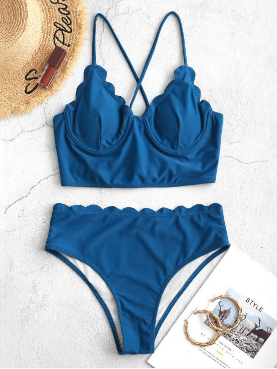 latest ZAFUL Scalloped Lace-up Underwire Tankini Swimsuit - OCEAN BLUE XL