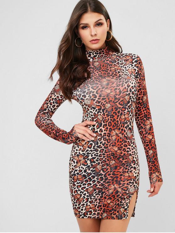 lady Long Sleeve Butterfly Leopard Slit Bodycon Dress - LEOPARD S