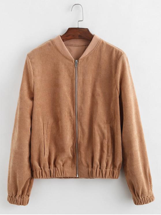 women Zip Up Solid Color Corduroy Jacket - BROWN L