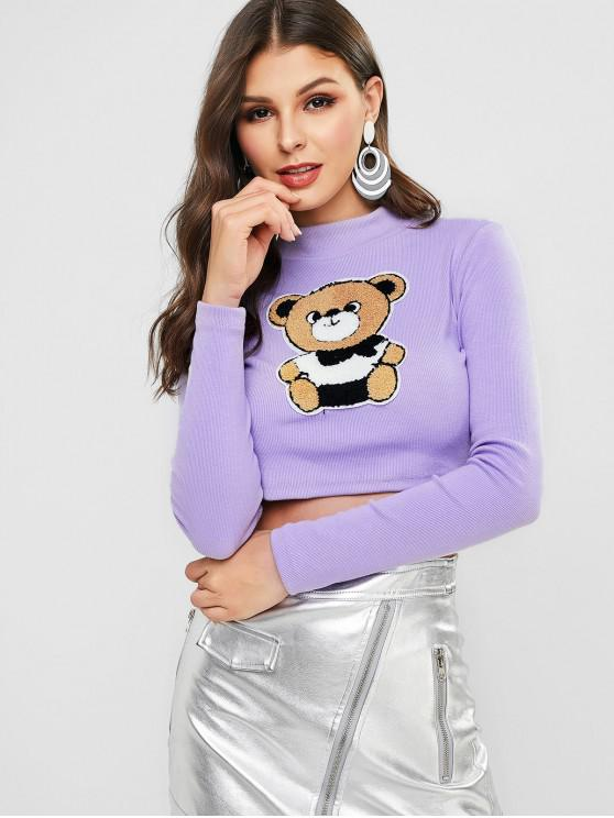 fancy Mock Neck Bear Patched Ribbed Cropped Top - MAUVE L
