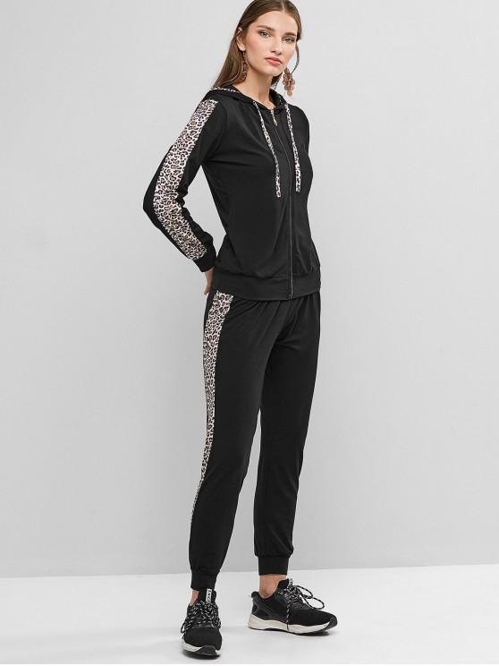 women's Two Piece Zip Up Leopard Panel Jogger Pants Set - BLACK L